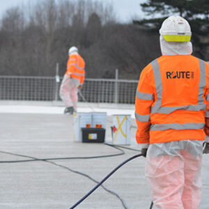 spray coating a industrial flat roof